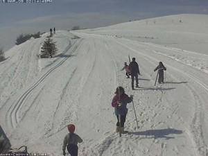 Alcuni sciatori impegnati nel pomeriggio